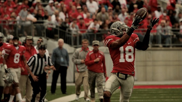Redshirt freshman T.Y. Williams tracks the ball in the air during his 68 yard touchdown reception.