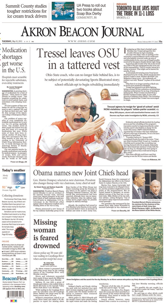 Akron Beacon Journal: Tressel Leaves OSU in a Tattered Vest