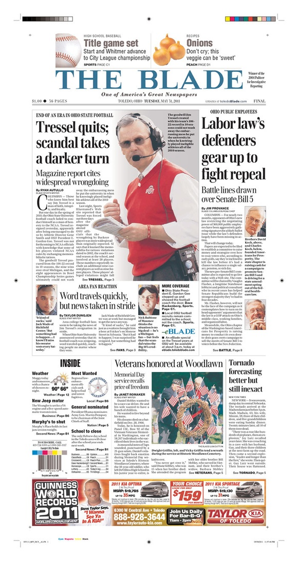 The Toledo Blade: Tressel Quits; Scandal Takes a Darker Turn