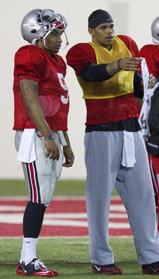 Braxton Miller and Terrelle Pryor at spring practice