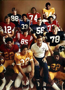 Left to right, top to bottom: David Casper (86), offensive lineman, Notre Dame; John Hicks (74), offensive lineman, Ohio State; Haskel Stanback (24), running back, Tennessee; Mike Boryla (12), quarterback, Stanford; Nat Moore (33), running back, Florida; Frank Pomarico (56), offensive lineman, Notre Dame; Daryl White (72), offensive lineman, Nebraska; Burney Veazey (85), tight end, Mississippi; Scott Anderson (78), center, Missouri; Lynn Swann (22), wide receiver, Southern Cal.; Rick Townsend (22), kicker, Tennessee; Doug Dickey, Florida; Woody Green (22), running back, Arizona State.