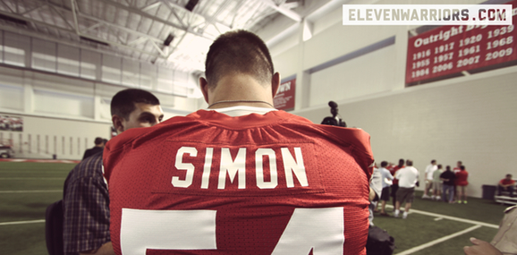 Ohio State's John Simon speaks with reporters at the team's 2012 Media Day