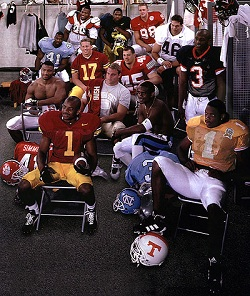 Left to right, top row: Michael Myers, tackle, Alabama; Charles Woodson, back, Michigan; Grant Wistrom (98), end, Nebraska. Second row: Brian Simmons (41), linebacker, North Carolina; Jim Wren (17), punter, Southern California; Andy Katzenmoyer (45), linebacker, Ohio State; Jason Chorak (46), linebacker, Washington. Third row: Anthony Simmons, linebacker, Clemson; Daryl Bush, Anson Mount Scholar/Athlete, Florida State; Dre' Bly, back, North Carolina; Anthony Pointdexter (3), back, Virginia. Bottom row: Daylon McCutcheon (1), back, Southern California; Leonard Little (1), end, Tennessee.