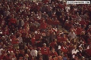 "You can play ""Where's Waldo?"" with the Indiana fan in this picture."