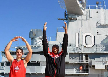 Aaron Craft and Deshaun Thomas perform a perfect O-H-I-O on the USS Yorktown