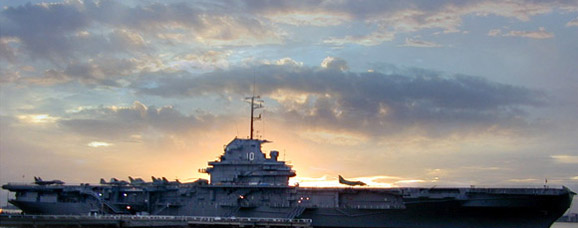 The USS Yorktown at sunset