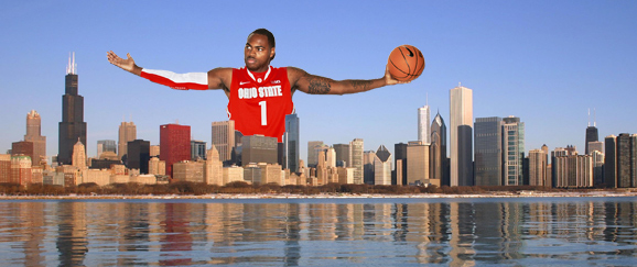 Sure, the game is being played in Columbus, but Deshaun Thomas needed a Chicago skyline shot