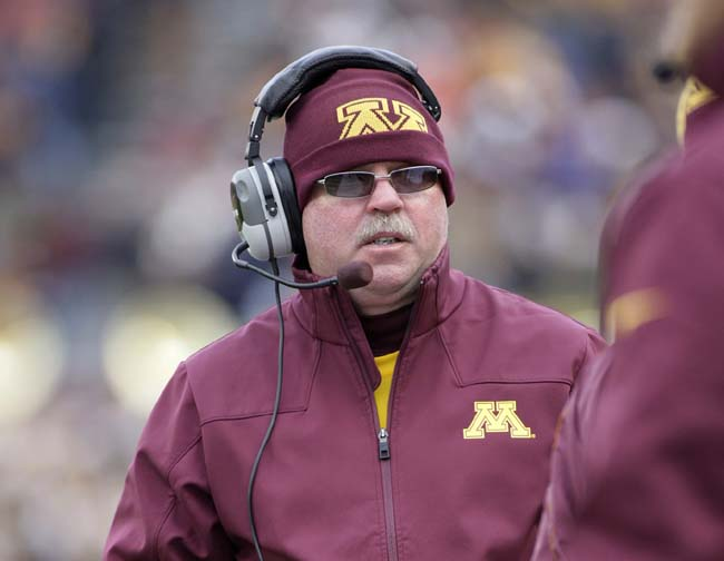 Jerry Kill coaching the first half of the game against Michigan State in 2012. He suffered a seizure at halftime and did not return.