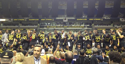 The East squad celebrates their win in the US Army All-American Bowl