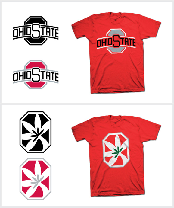 Two of the five alternative logos Blake Gantz whipped up for Ohio State