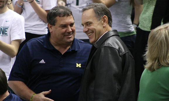 Brady Hoke and Mark Dantonio, best buds, taking in a game at the Breslin