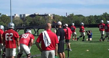 Ed Warinner drills his troops at Ohio State's 2012 spring camp