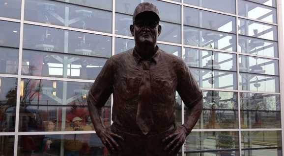 A bronze statue of Woody Hayes now living at the WHAC