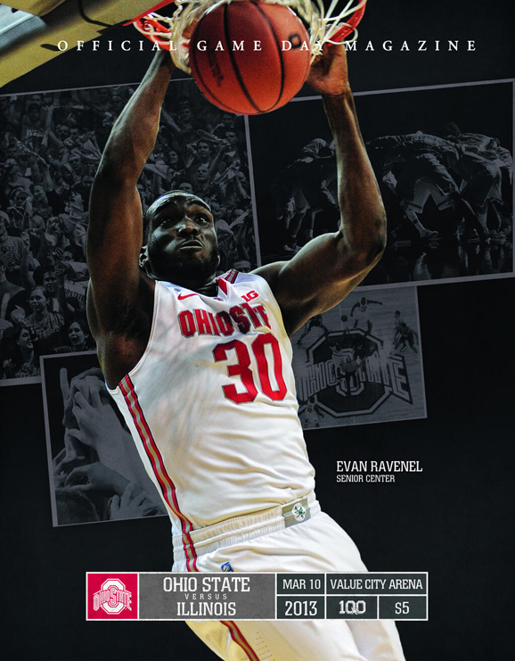Evan Ravenel, Ohio State's lone senior will grace the cover of the final home basketball program of the season.