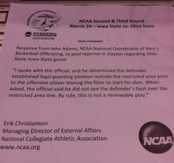 The NCAA issued a statement on the controversial charge call Aaron Craft drew late against Iowa State.