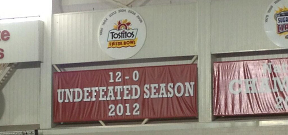 A new banner, celebrating Ohio State's 12-0 season is hanging at WHAC