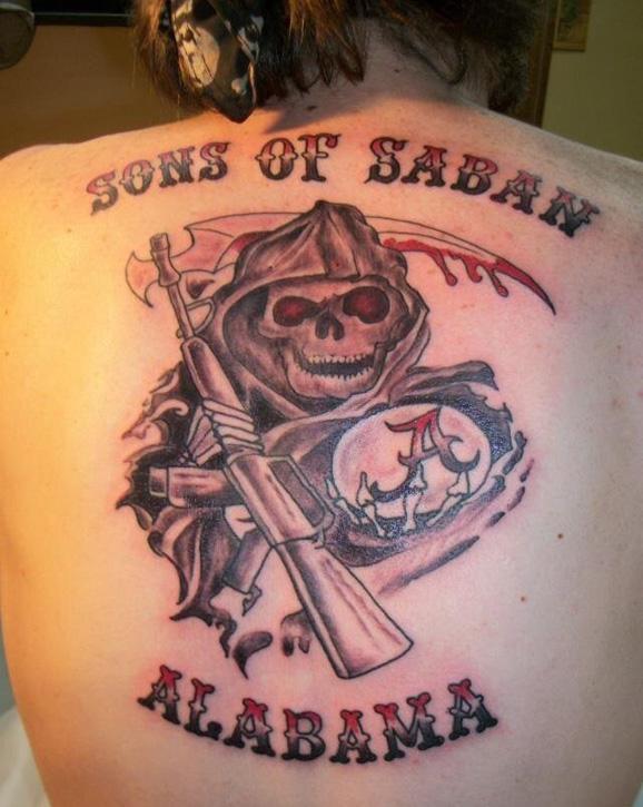 Alabama fan's fresh Sons of Saban tattoo