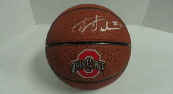 This basketball, autographed by Jared Sullinger, to the champion