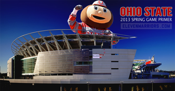 Brutus Buckeye hits Cincinnati's Paul Brown Stadium for Ohio State's 2013 spring game