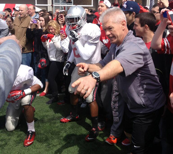 Kerry Coombs is excited for the kick drill.