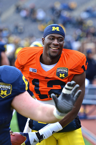 Devin Gardner in a borrowed orange jersey for Michigan's spring game.
