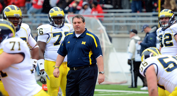 Brady Hoke said he's talked to some folks in the NFL about having to play a team twice.