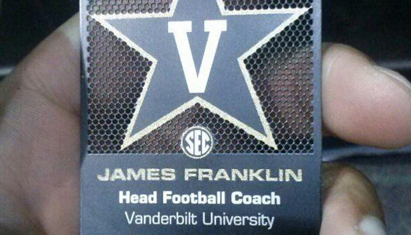James Franklin's business card, which he presumably handed to a 7th-grader.