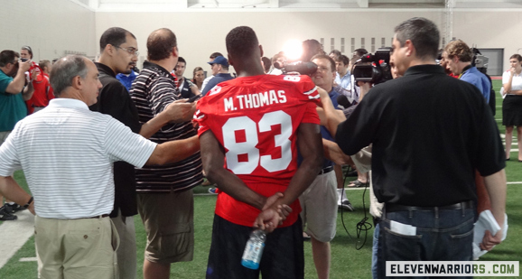 Michael Thomas has built a solid rapport with Braxton Miller.
