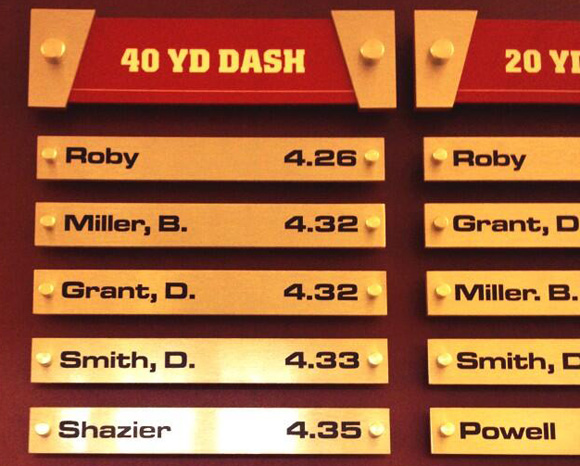 Braxton Miller runs a 4.32, but Bradley Roby runs a 4.26, according to Ohio State