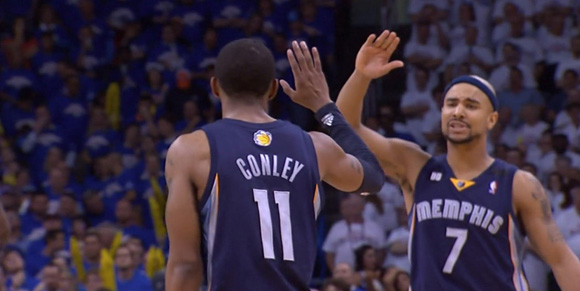 Mike Conley finished with 26 points, 10 rebounds and 9 assists in the Grizzlies' game two win over Oklahoma City.