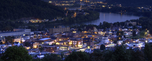 Martins Ferry and the Ohio River at night
