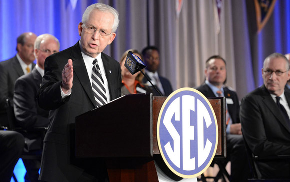 SEC commissioner Mike Slive answers questions at the SEC Network kickoff event