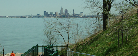 The skyline of the city of Cleveland from Lakewood