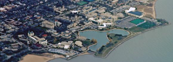 Northwestern's Evanston campus, eight miles north of Chicago