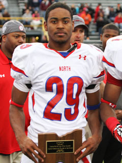 Gareon Conley accepts his offensive MVP honors from the 2013 Ohio North-South Classic.