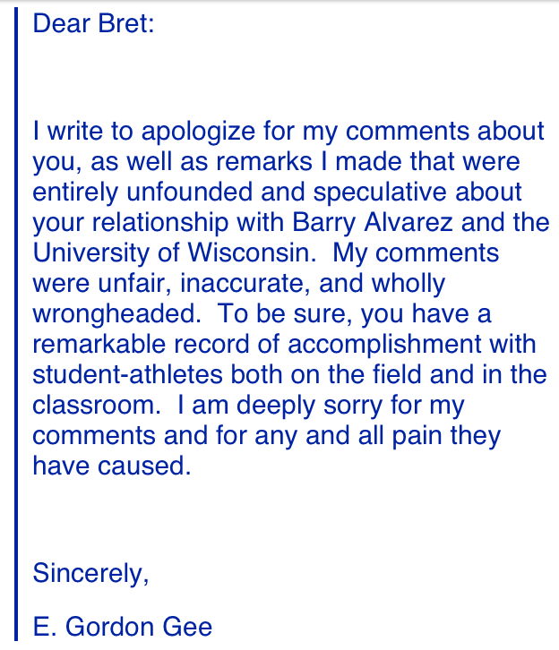 Gee's apology to Bielema, posted for all of Twitter to see