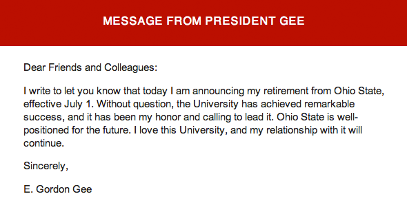 Gordon Gee's retirement letter to faculty, students and staff