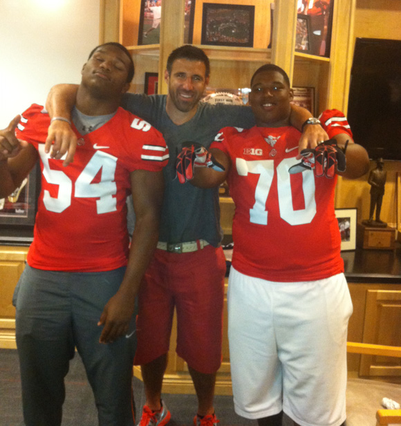 Da'Shawn Hand and Tim Settle with Ohio State coach Mike Vrabel