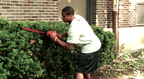 Najee Murray works in the secondary – or as a landscaper.