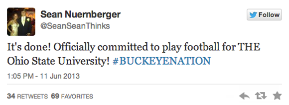 Sean Nuernberger, a punter/kicker, is the 10th member of Ohio State's class of 2014