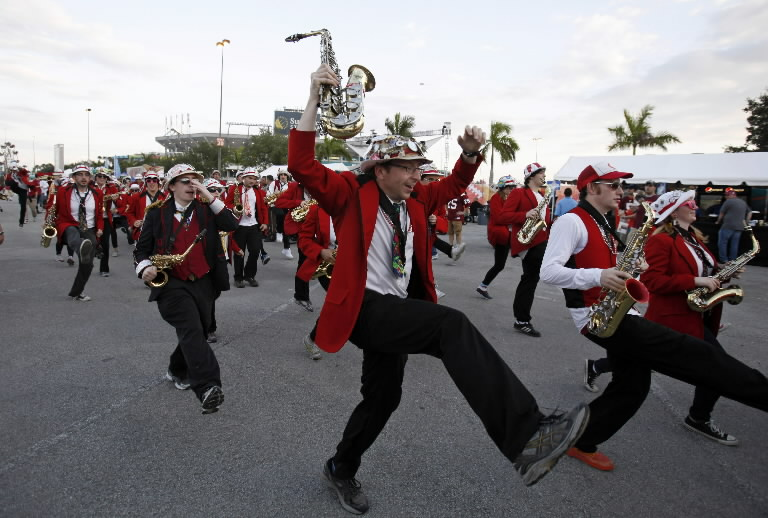 Stanford's band marches in anticipation of the 2011 Orange Bowl