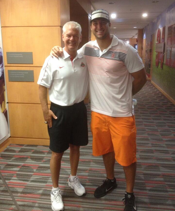 Tim Tebow stops by Ohio State's Woody Hayes Athletic Center