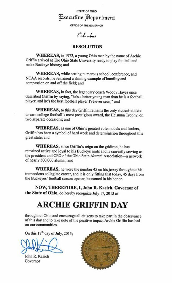 July 17, 2013: Archie Griffin Day in the state of Ohio