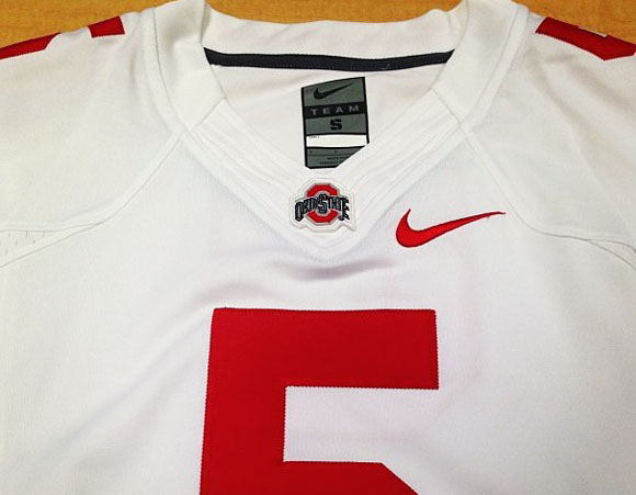 Nike's Flywire technology on the collar of Ohio State's new road jerseys