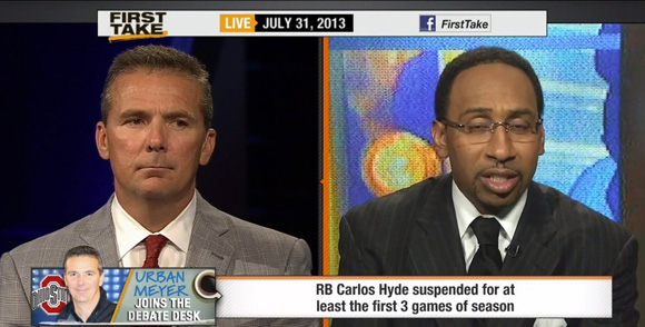 Urban Meyer looking thrilled to be on First Take