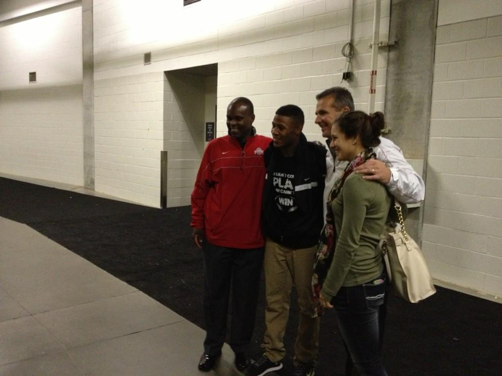 Everett Withers, Vonn Bell, Urban Meyer, and Nikki Meyer after Ridgeland's state championship game loss to Sandy Creek