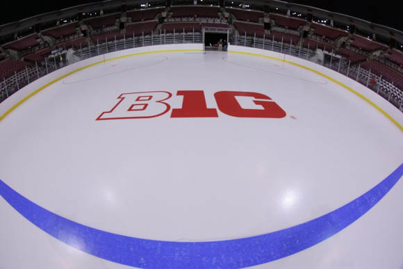 The #B1G logo on the ice and it's beautiful.