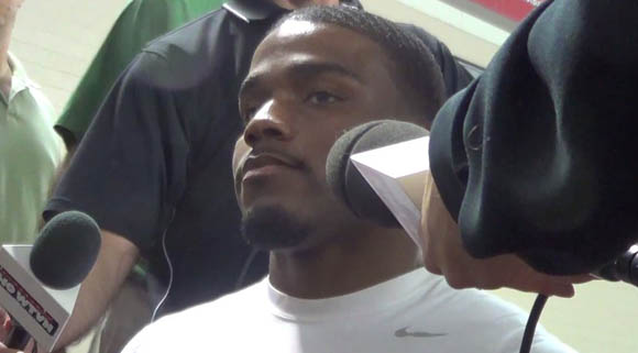 Ohio State safety C.J. Barnett speaks with reporters on Monday