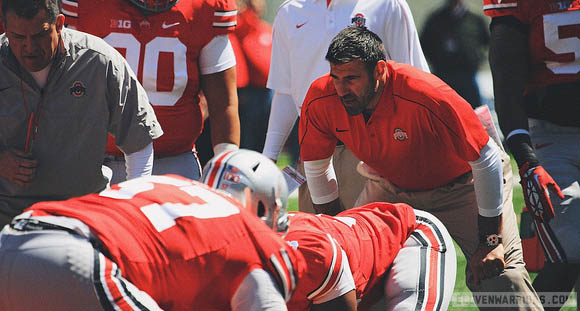 Ed Warriner has his Ohio State offensive line eating right, thanks to a team nutritionist and other services.