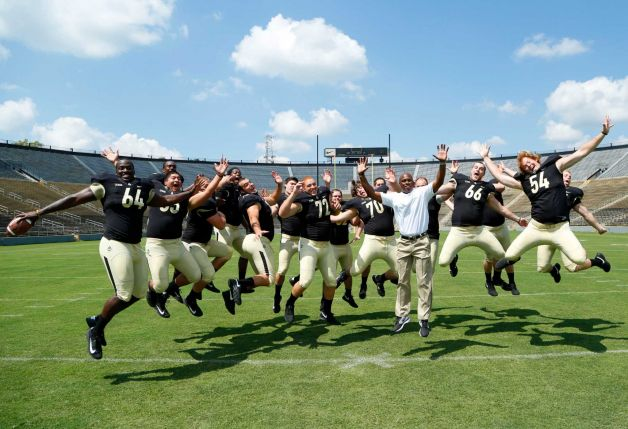 Darrell Hazell and his Boilermakers clowning around on Purdue football's media day